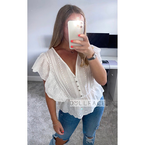 Lila White Top