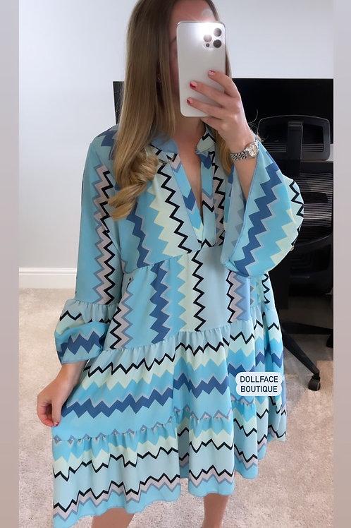 NAOMI Blue Zig Zag Dress