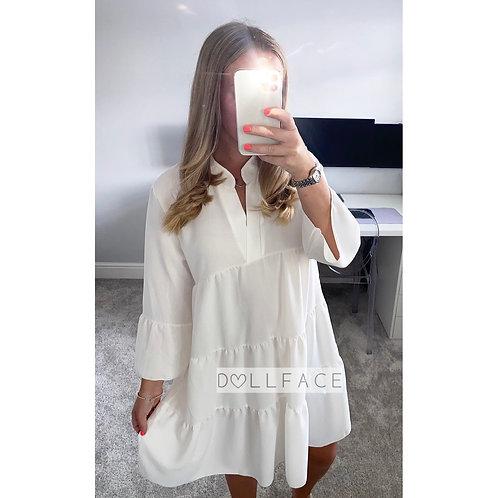 Ada White Tiered Dress
