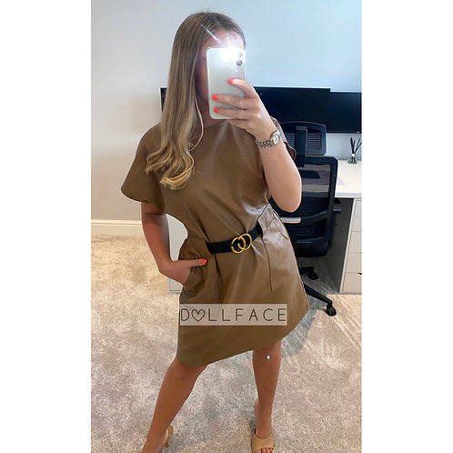 Bonnie Tan Faux Leather Belted Dress
