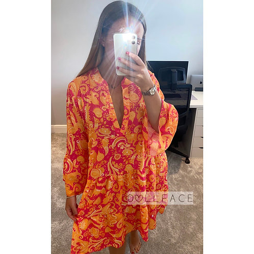 Jade Orange Print Dress