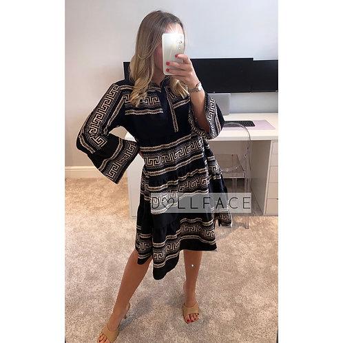 Elsie Black & Gold Print Dress