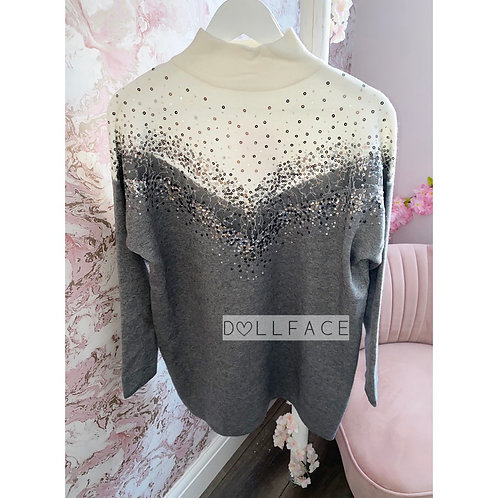 Felicity Grey Sequin Jumper