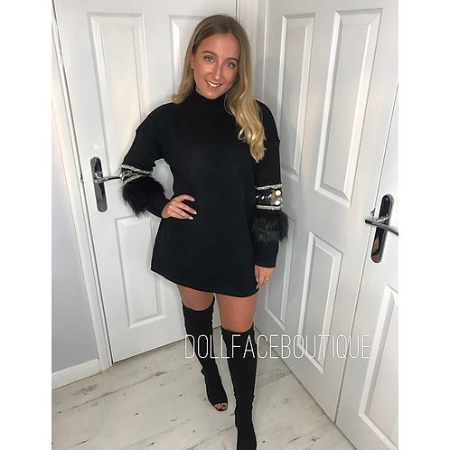 Molly Black Detailed Jumper Dress- 2 Colours