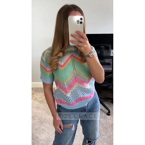 ELLA Rainbow Crochet Top