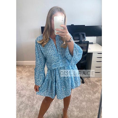 Jade Leopard Blue Dress
