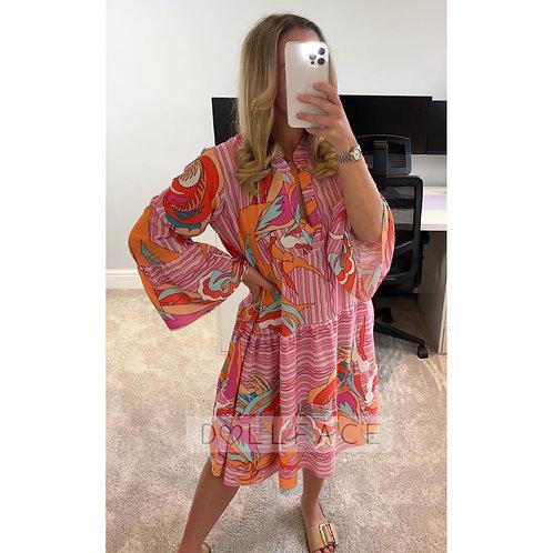 NAOMI Pink/Orange Print Swing Dress