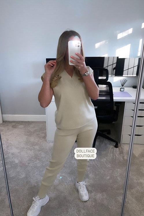 KIERA V Neck Beige Loungewear