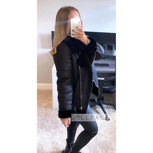 Natalie Black Aviator Jacket