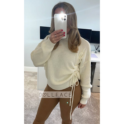 SADIE Ruched Knitted Jumper