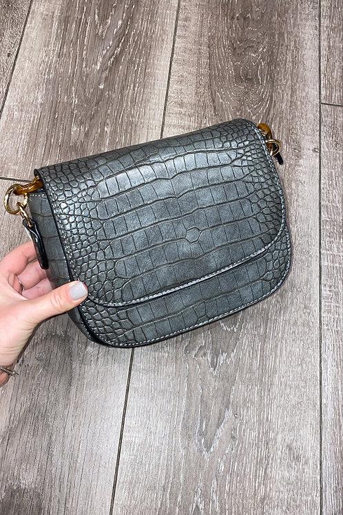 Kaylee Grey Croc Bag