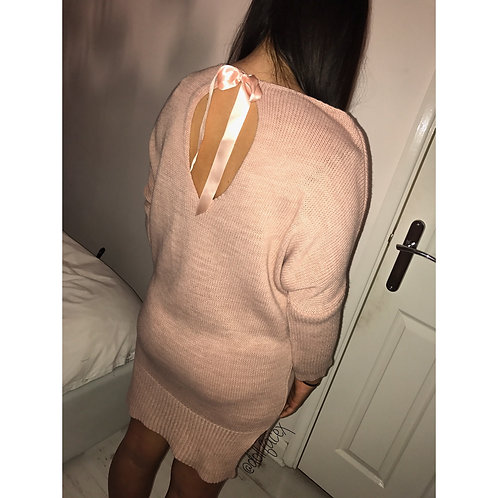 Lola Blush Tie Up Jumper Dress