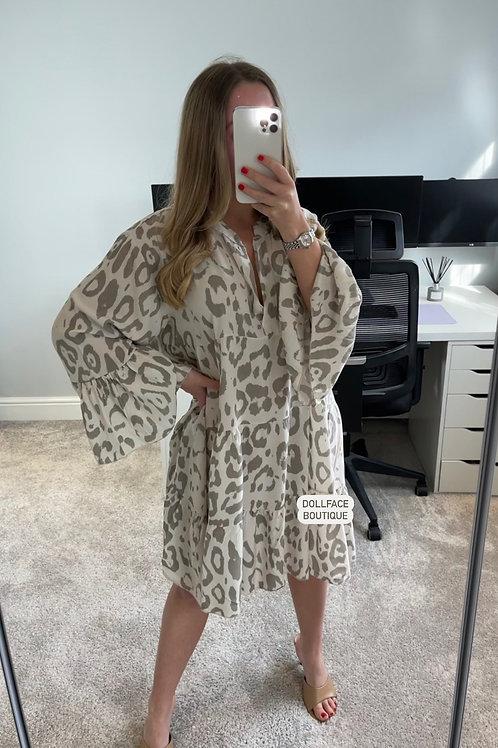 NANCY Leopard Swing Dress - 2 Colours
