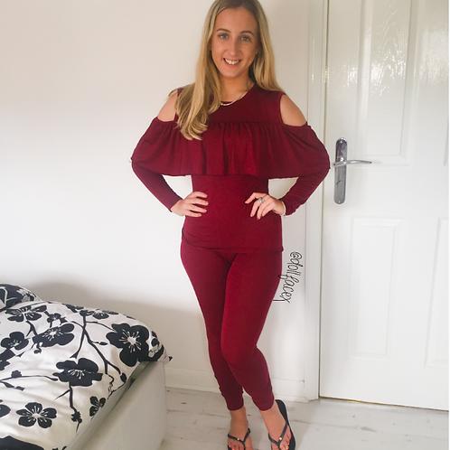Cara Ruffle Wine Loungewear