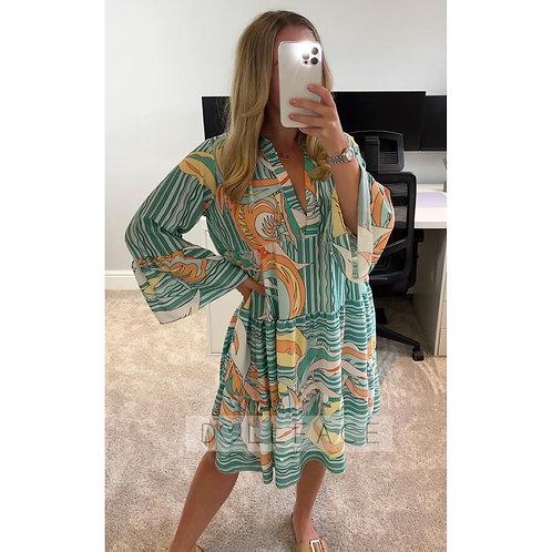 NAOMI Green/Orange Print Swing Dress