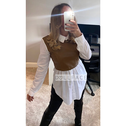 Lucy Leather Look Shirt - 2 Colours