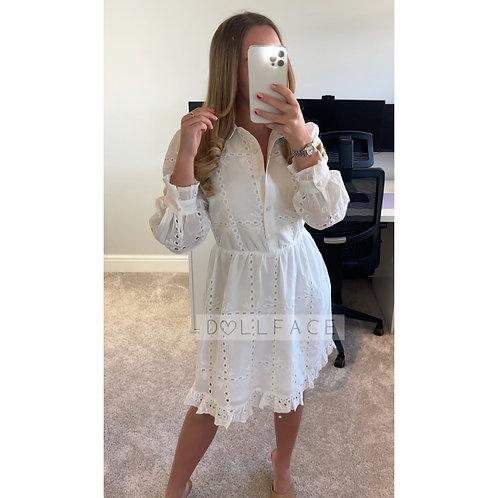 VICTORIA White Embroidery Shirt Dress