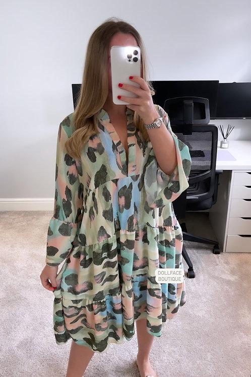 NAOMI Leopard Print Khaki Frill Dress