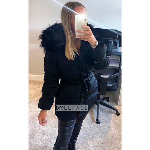 Becky Black Faux Fur Puffer Jacket