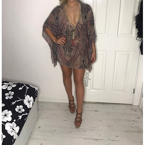 Pretty Paisley Zip Kaftan - 2 Colours
