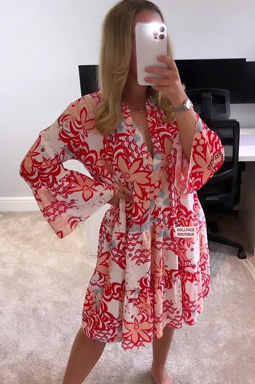 NAOMI Red Paisley Print Swing Dress