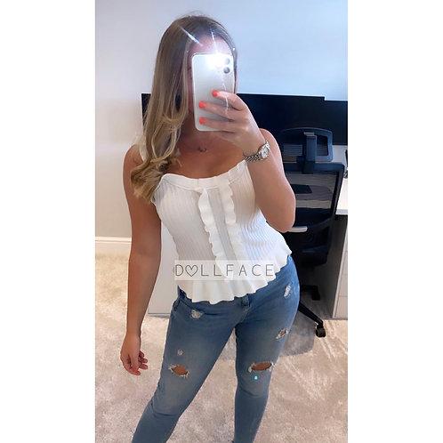 Ivy White Frill Vest