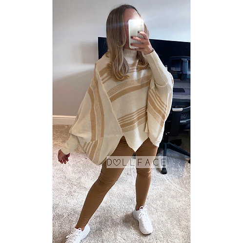 Kylie Cream & Beige Oversized Top