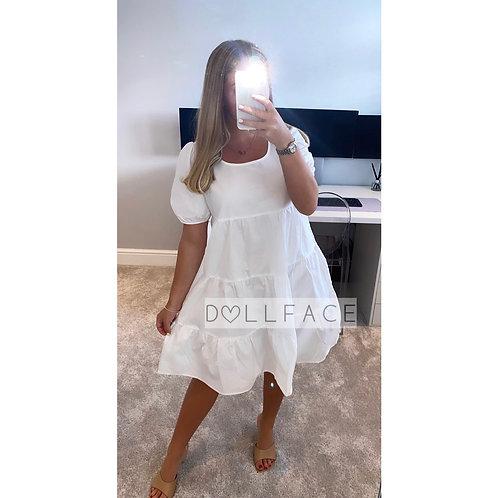 Bea White Tiered Dress