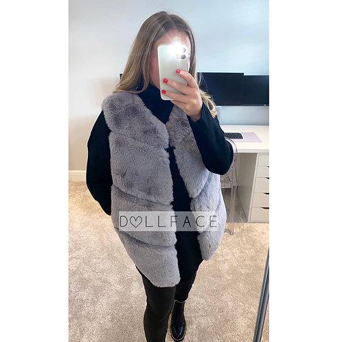 Matilda Grey Faux Fur Gilet