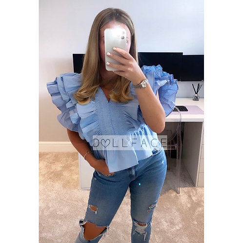 Elle Baby Blue Frill Top