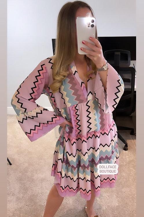 NAOMI Purple Zig Zag Dress