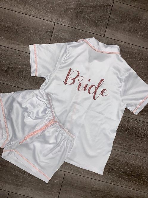 White & Pink Glitter Personalised Short Set Pyjamas