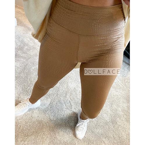 Hailey Tan Croc Wet Look Leggings