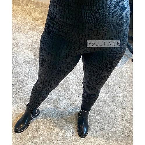 Hailey Black Croc Wet Look Leggings