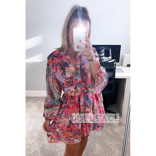 Jade Floral Lilac Print Dress
