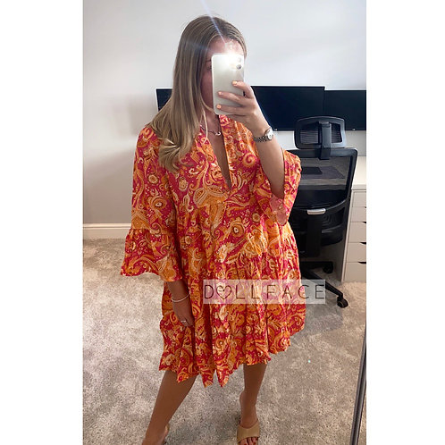 Sienna Pink and Orange Paisley Dress
