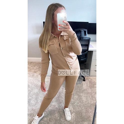 Lydia Button Taupe Loungewear
