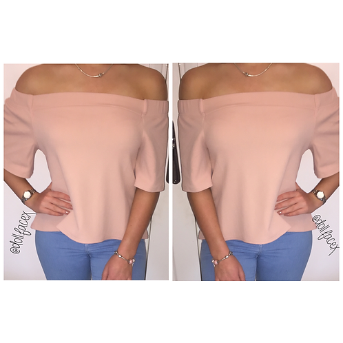 Katy Nude Bardot Swing Top