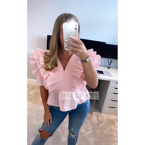 Elle Baby Pink Frill Top