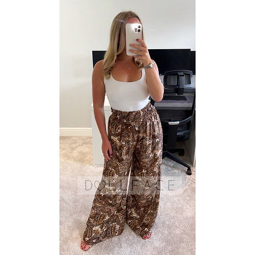 HALLIE Brown Paisley Trousers