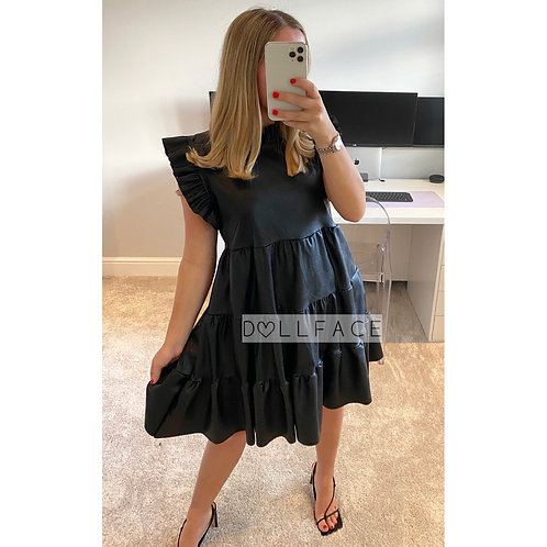 Hannah Pleated Leather Look Dress