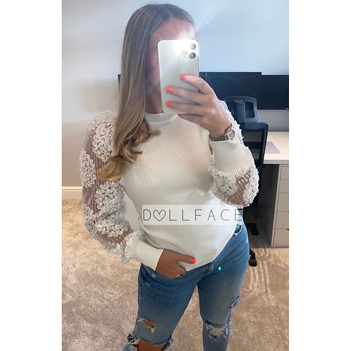 Brielle White Detailed Top