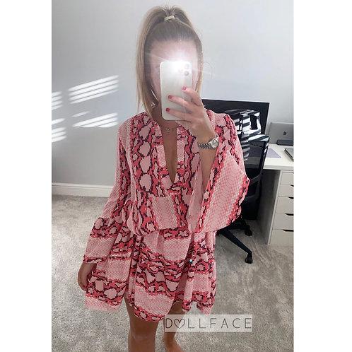 Jade Pink Snakeskin Dress