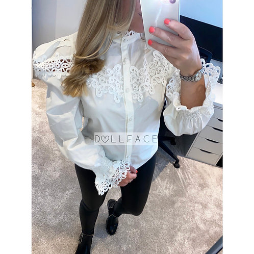 Nevaeh Detailed White Blouse