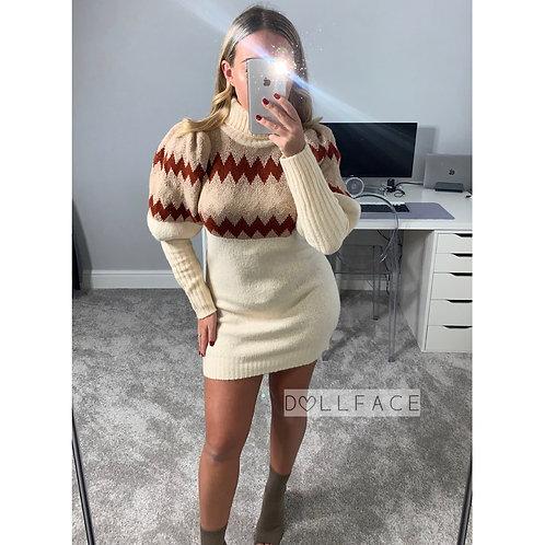 Belle Patterned Jumper Dress