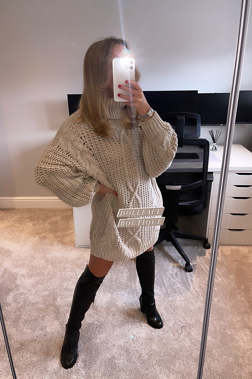Lois Knitted Roll Neck Jumper Dress - 2 Colours