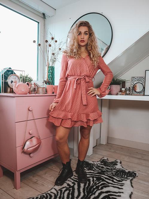 Dames overslag jurk roze