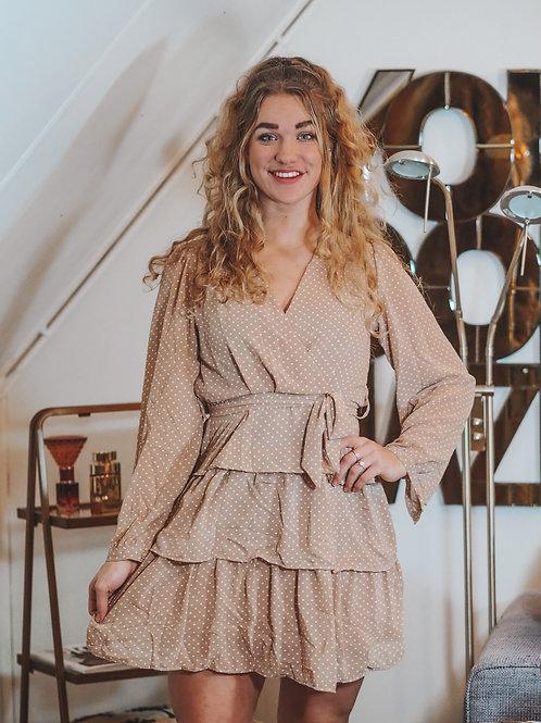 Stippel overslag jurk beige