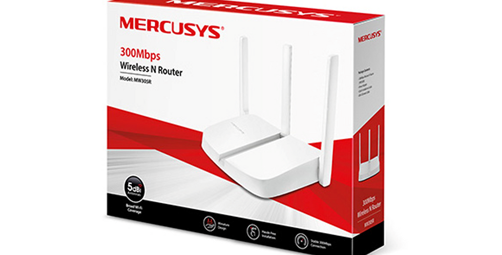 Router Wi-Fi Mercusys MW305R 300 Mbps. 3 antenas 2. 4 GHz.