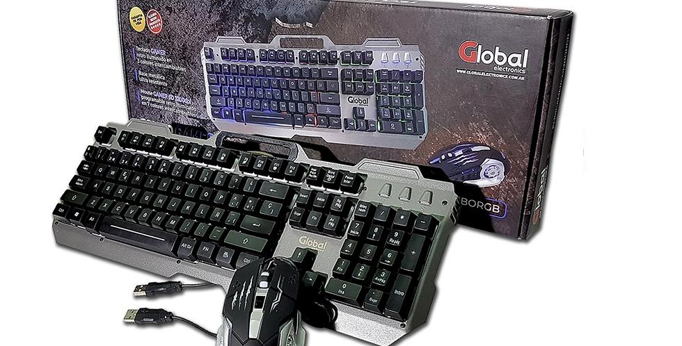 Combo Gamer Global KL151 RGB Base metalica